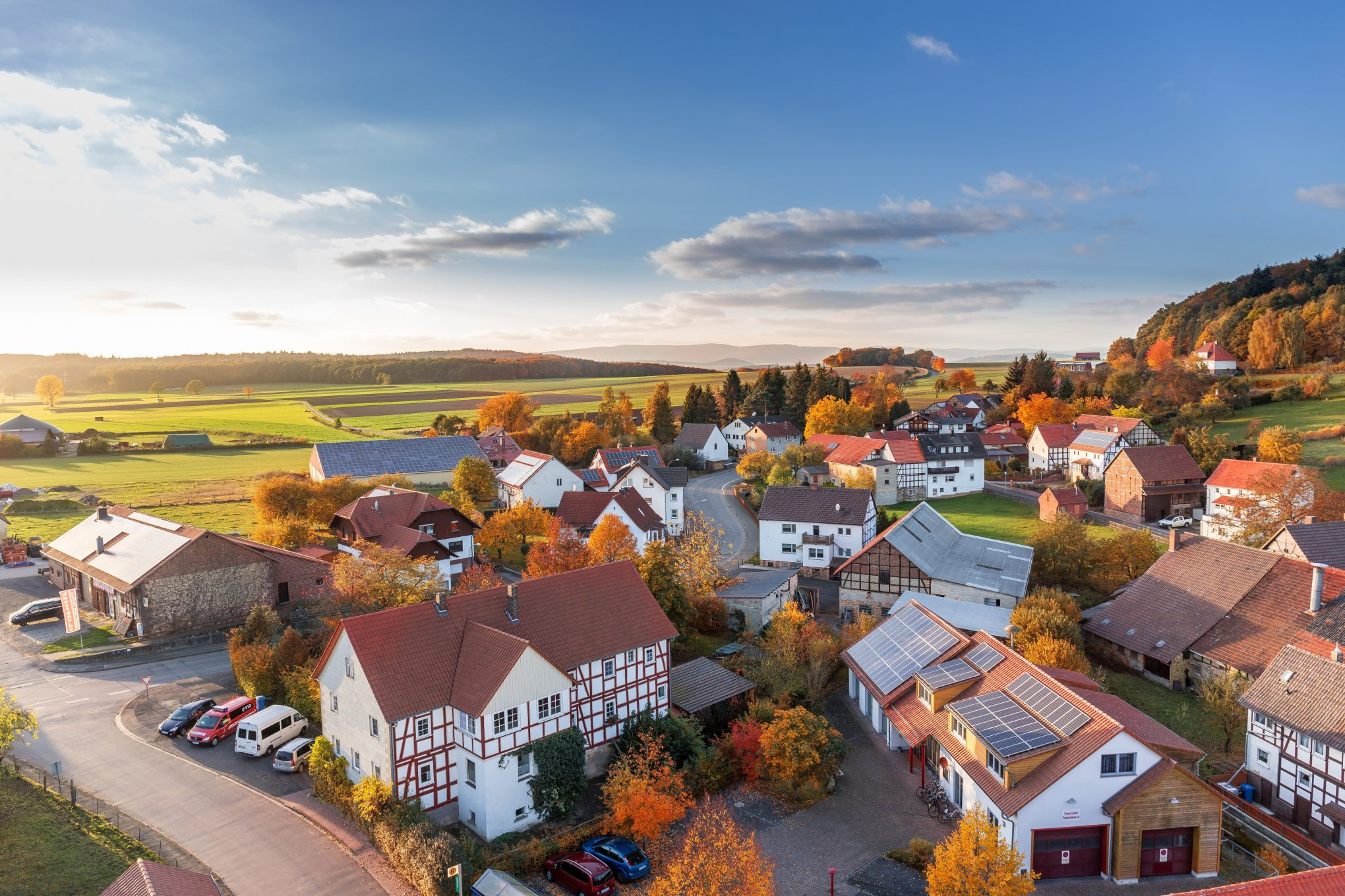 Rural houses in autumn