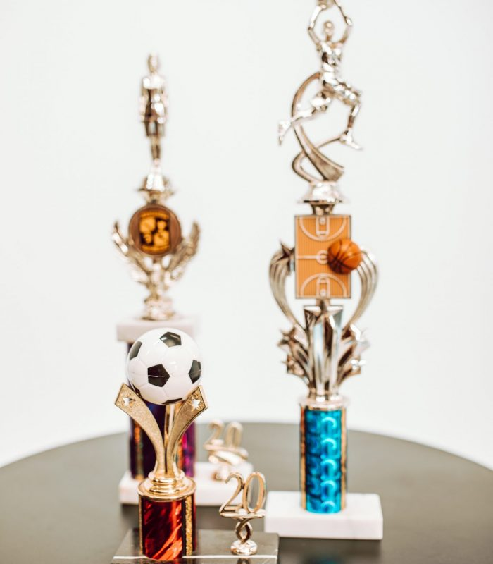 Soccer, basketball, and sports trophies